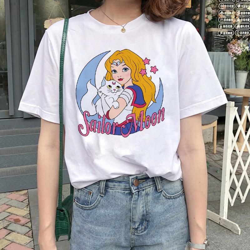 Sailor Moon Aesthetic Cat Luna Print T-Shirt Harajuku clothes Women Tee
