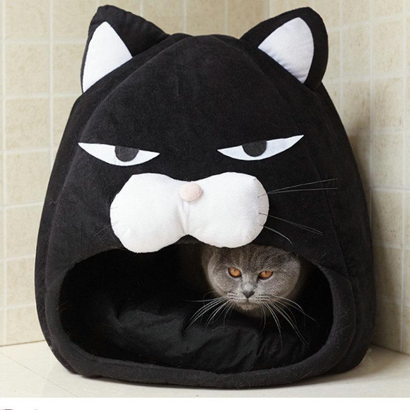 Cartoon Cat Shape Cat House Pet Bed