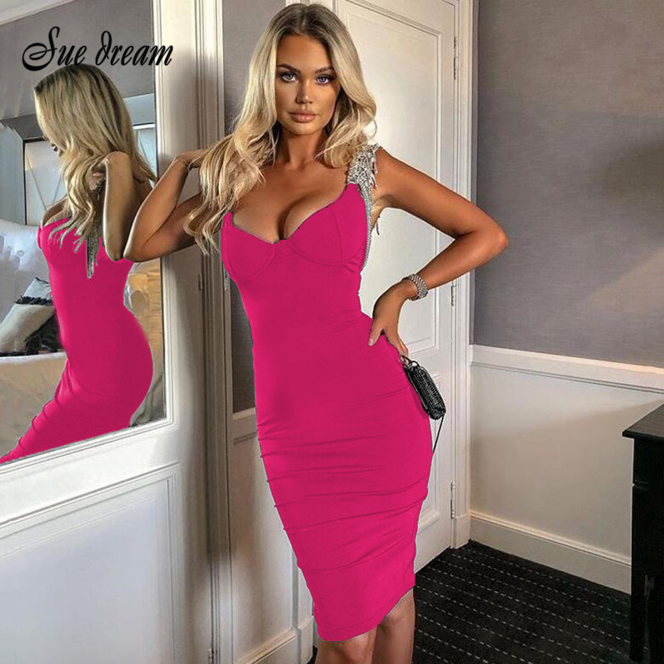 Women-S-Summer-Bandage-Dress-2020-Sexy-Black-V-Neck-Diamond-Tassel-Midi-Dress-Bodycon-Celebrity