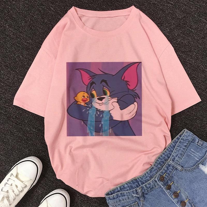 Summer New Grieved Cat Tom and Jerry Cartoon Print Women T-shirt Tee