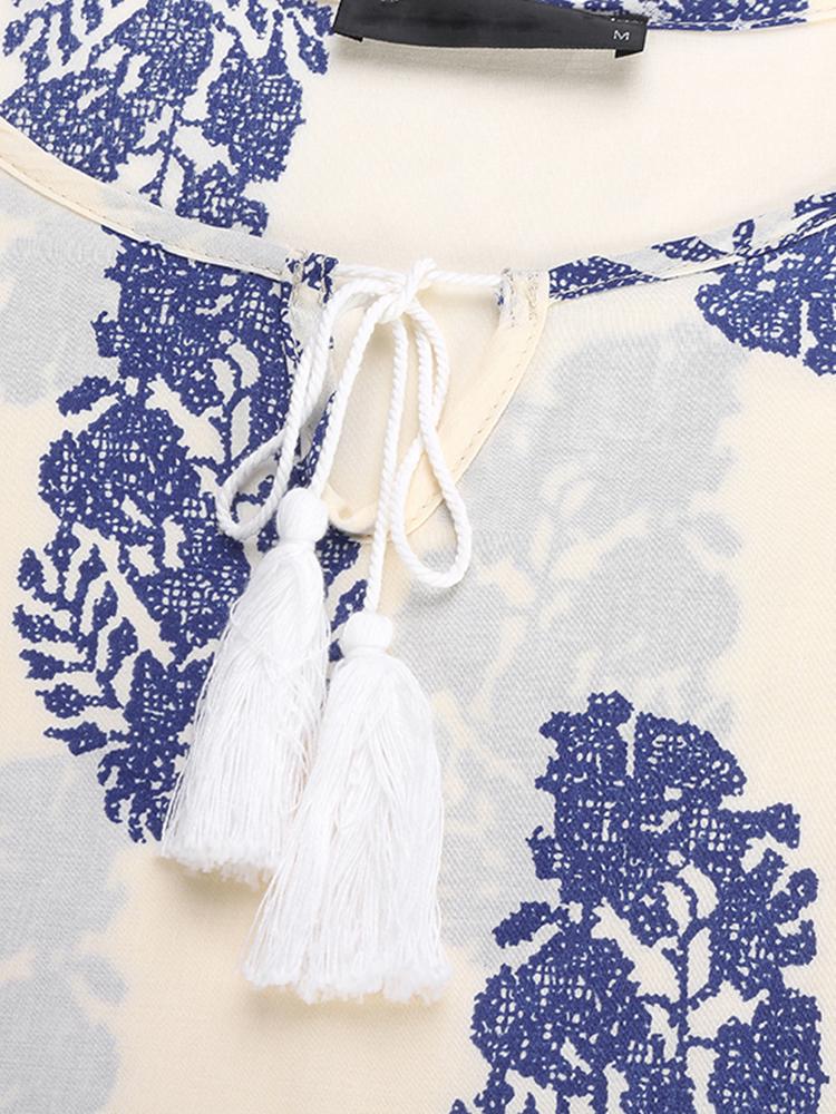 Women Retro 3/4 Sleeve V-Neck Lace Up Printed Boho Mini Dresses