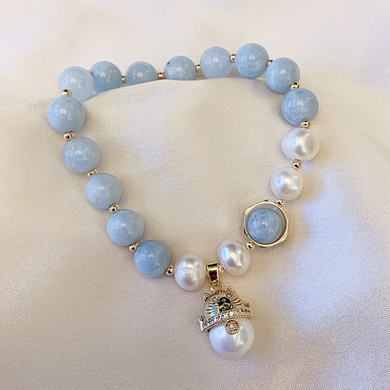 Handmade Lucky Cat Freshwater Pearl Retro Bracelet