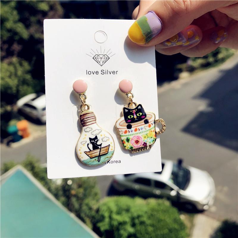 Korea Cat Series Cute Teacup Bulb Cat Earrings