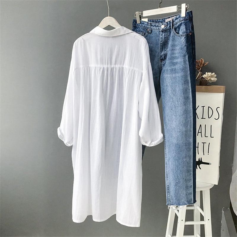 100% Cotton Women Beach White Long Blouse 2019 Spring Women Long Sleeve Shirts Blouse High quality loose Office Long Blouse Tops (2)