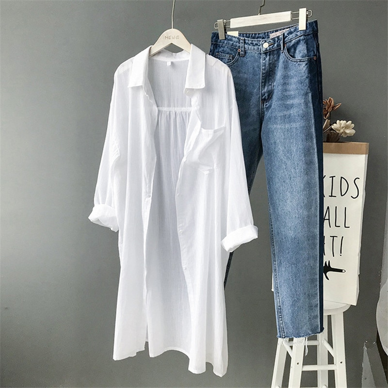 100% Cotton Women Beach White Long Blouse 2019 Spring Women Long Sleeve Shirts Blouse High quality loose Office Long Blouse Tops (1)