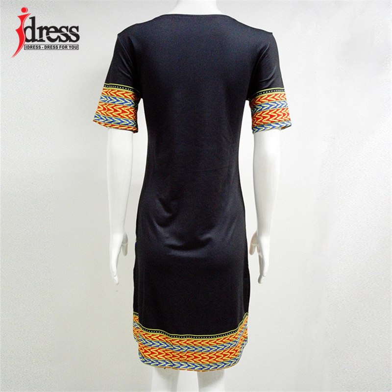 IDress S-XXXL Plus Size Sexy Casual Summer Dress Women Short Sleeve Party Dresses 2017 Black Vintage Traditional Printed Dresses (2)
