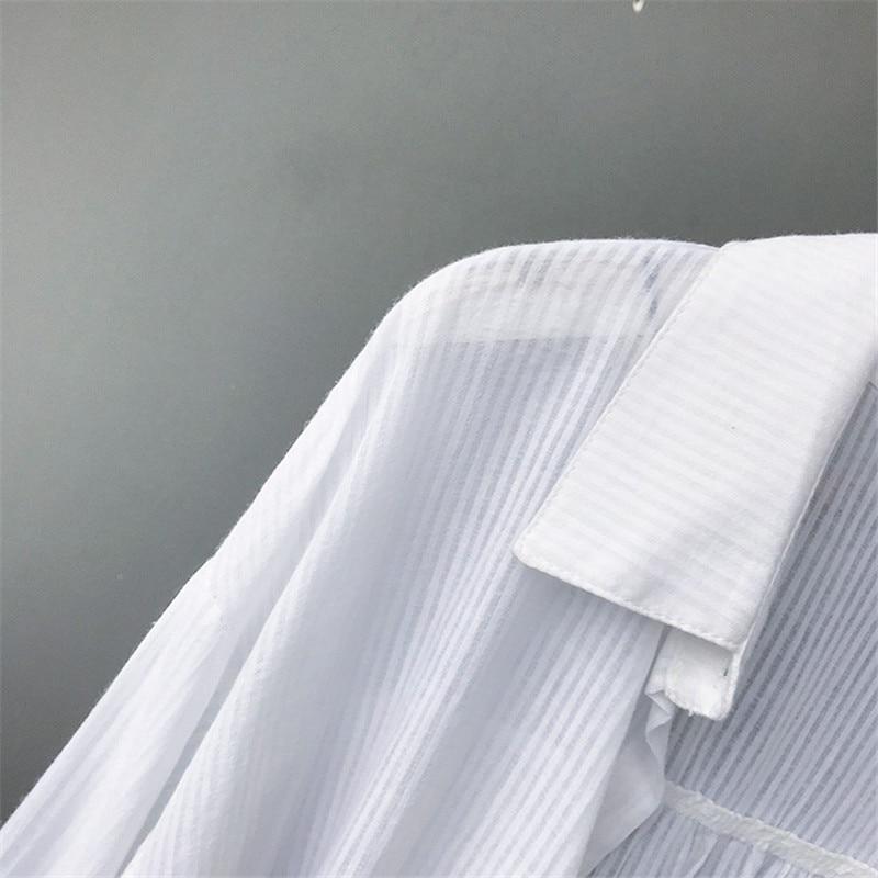 100% Cotton Women Beach White Long Blouse 2019 Spring Women Long Sleeve Shirts Blouse High quality loose Office Long Blouse Tops (3)
