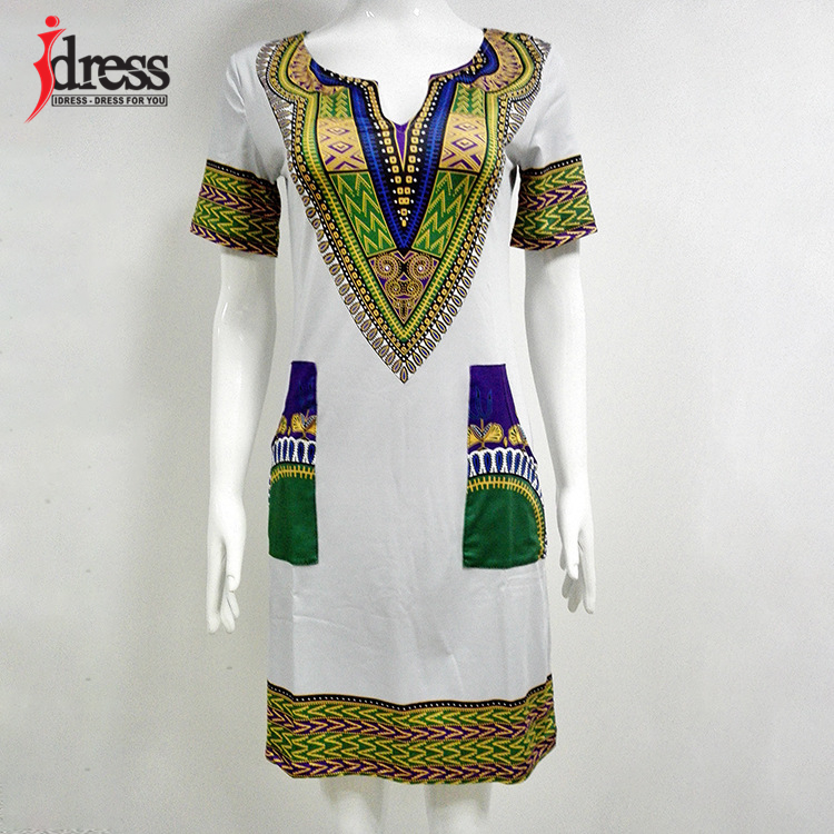IDress S-XXXL Plus Size Sexy Casual Summer Dress Women Short Sleeve Party Dresses 2017 Black Vintage Traditional Printed Dresses (8)