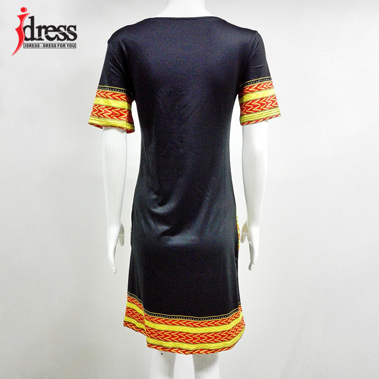 IDress S-XXXL Plus Size Sexy Casual Summer Dress Women Short Sleeve Party Dresses 2017 Black Vintage Traditional Printed Dresses (5)