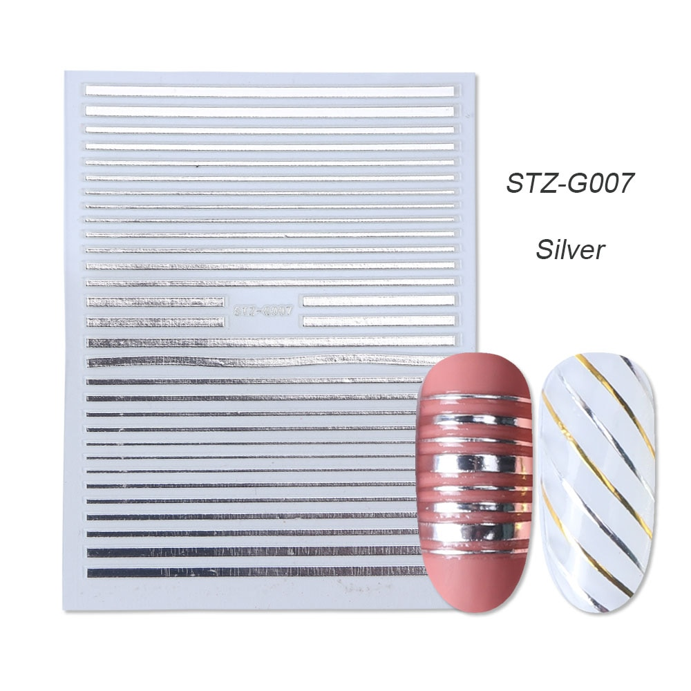 gold silver 3D stickers STZ-G007 Silver