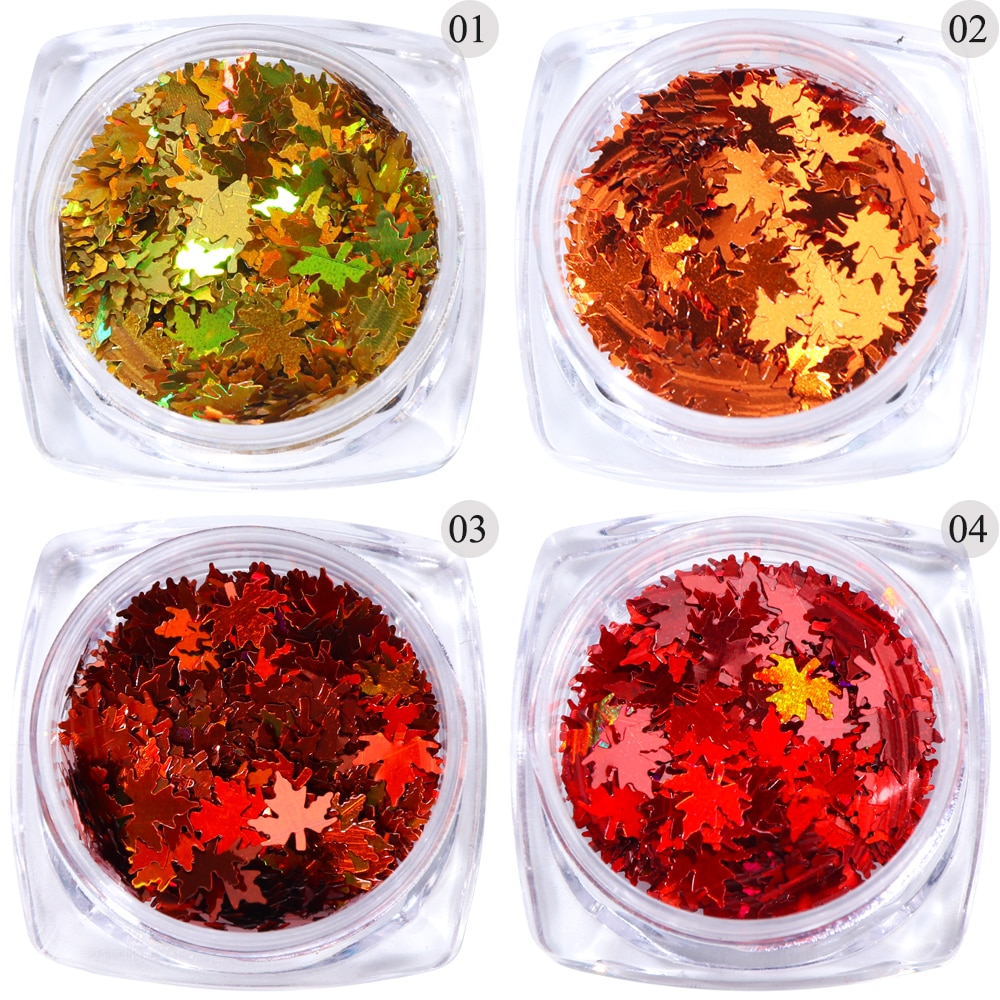 Fall Maple Leaf Shape Glitter For Nail Art Decoration