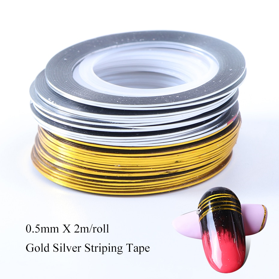 0.5mm Gold Silver Striping Sticker Holographic 3D Strips Liner Tape Adhesive Super Fine Nail Art Polish Decorations LY1009-1 (4)