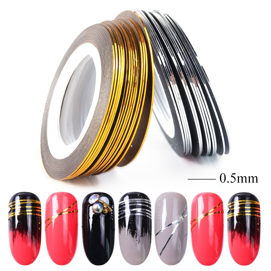 0.5mm Gold Silver Striping Sticker Holographic 3D Strips Liner Tape Adhesive Super Fine Nail Art Polish Decorations LY1009-1 (3)