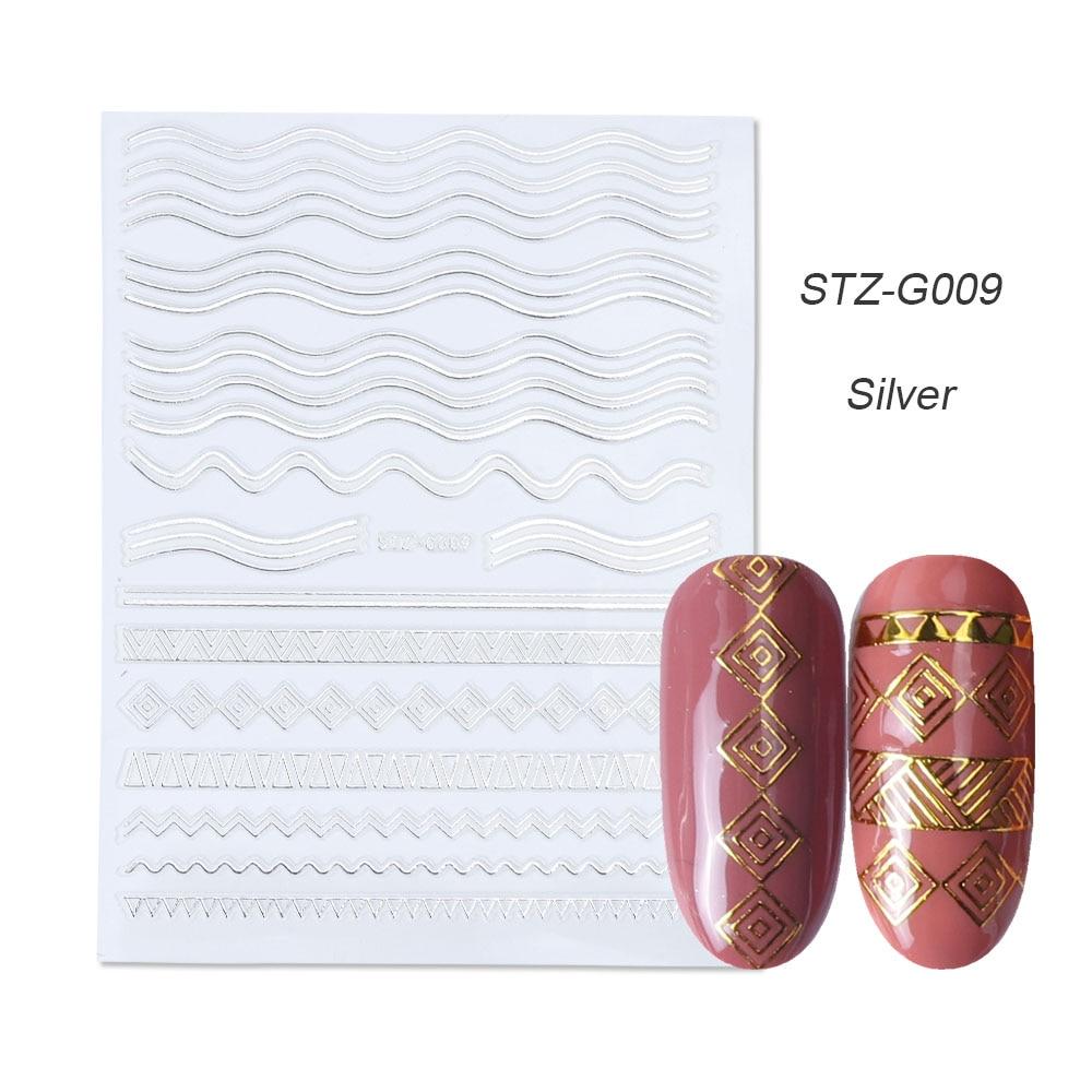 gold silver 3D stickers STZ-G009 Silver