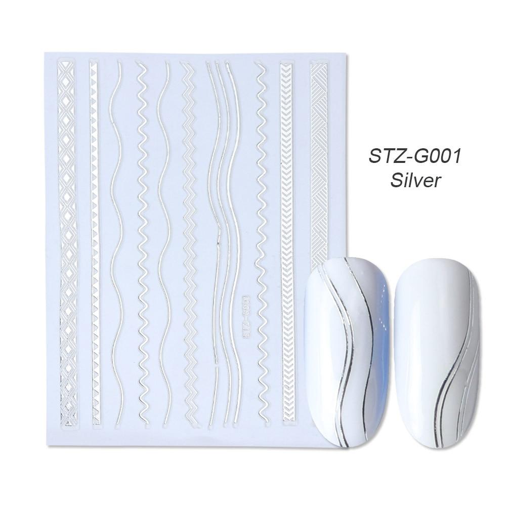 gold silver 3D stickers STZ-G001 Silver