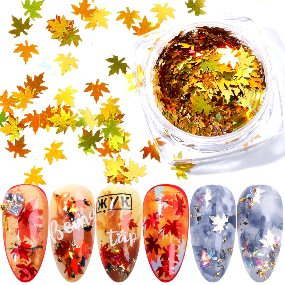 Gold Maple leaf Nail Flakes