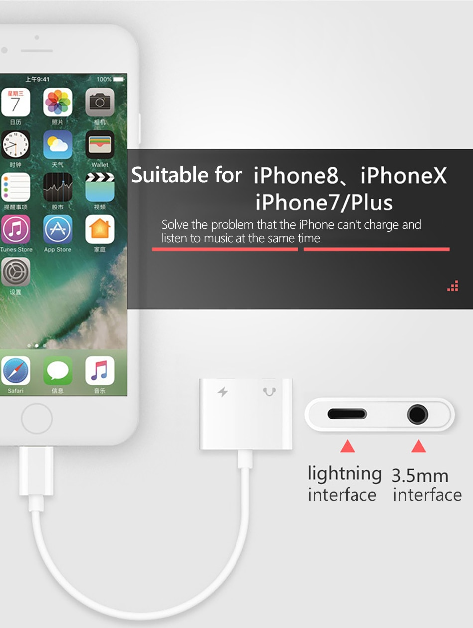 2 in1 Lighting Charger Listening Adapter For iphone X 8 7 Plus Charge Adapters 3.5mm Jack AUX Splitter For iphone XS MAX (7)