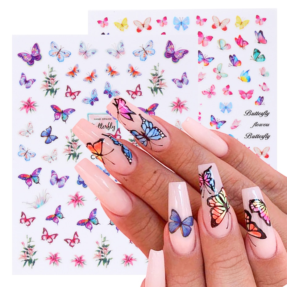 Butterfly Nail Stickers Flower Water Transfer Sliders Summer Colorful Nail Art Stickers DIY Manicure Tips (5)