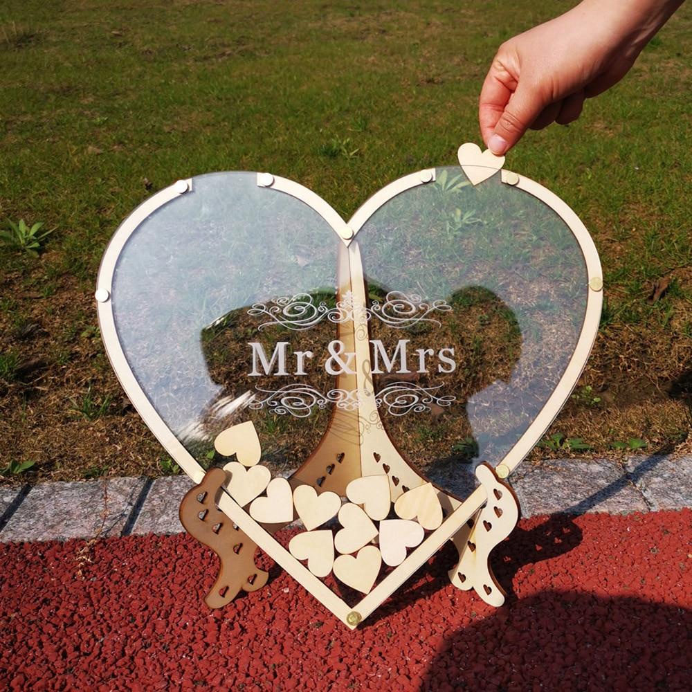 Hearts Unique Wedding Mr Mrs Guest Book Decoration Memory Guest Book Drop Box Signature Acrylic Guest Book Alternative (2)