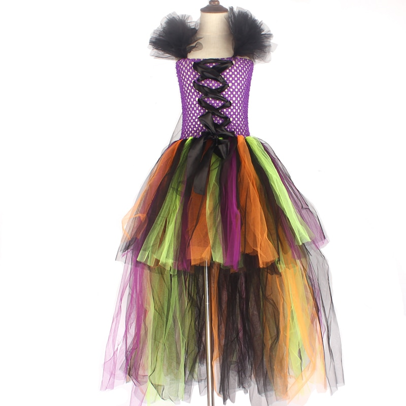 Girls Halloween Witch Tutu Dress Rainbow Trailing Tulle Kids Carnival Cosplay Party Dress Children Fancy Ball Gown Dress Costume (4)