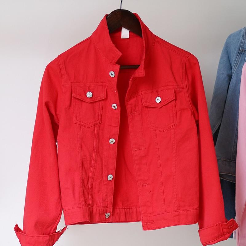 Jeans Jacket and Coats for Women 2019 Autumn Candy Color Casual Short Denim Jacket Chaqueta Mujer Casaco Jaqueta Feminina (8)