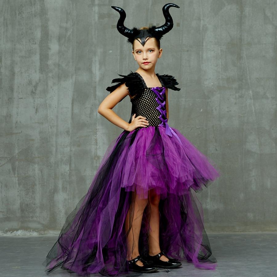 Purple Black Children Maleficent Costume Girls Dark Witch Villain Halloween Fancy Tutu Dress Evening Party Carnival Ball Gowns (13)