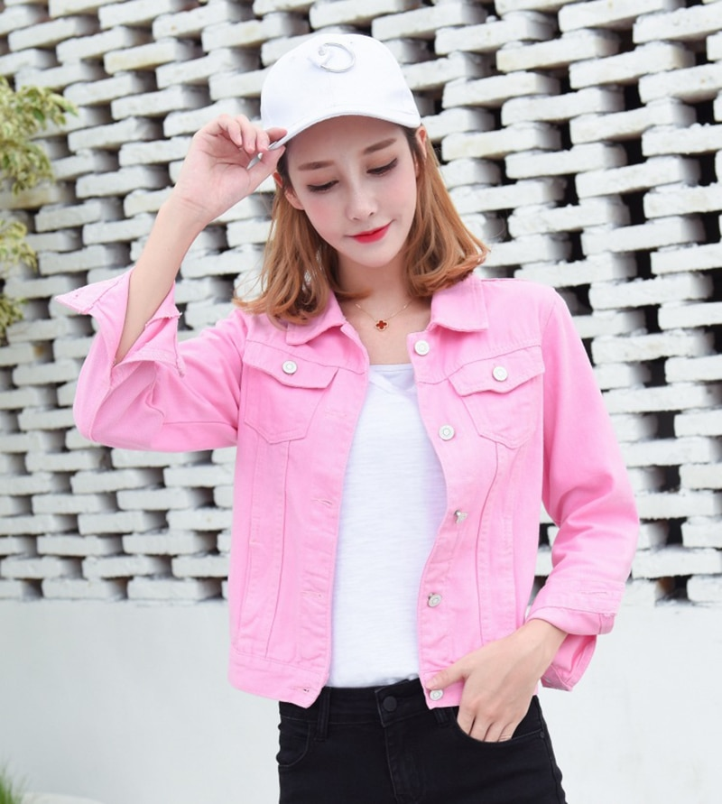 Jeans Jacket and Coats for Women 2019 Autumn Candy Color Casual Short Denim Jacket Chaqueta Mujer Casaco Jaqueta Feminina (17)