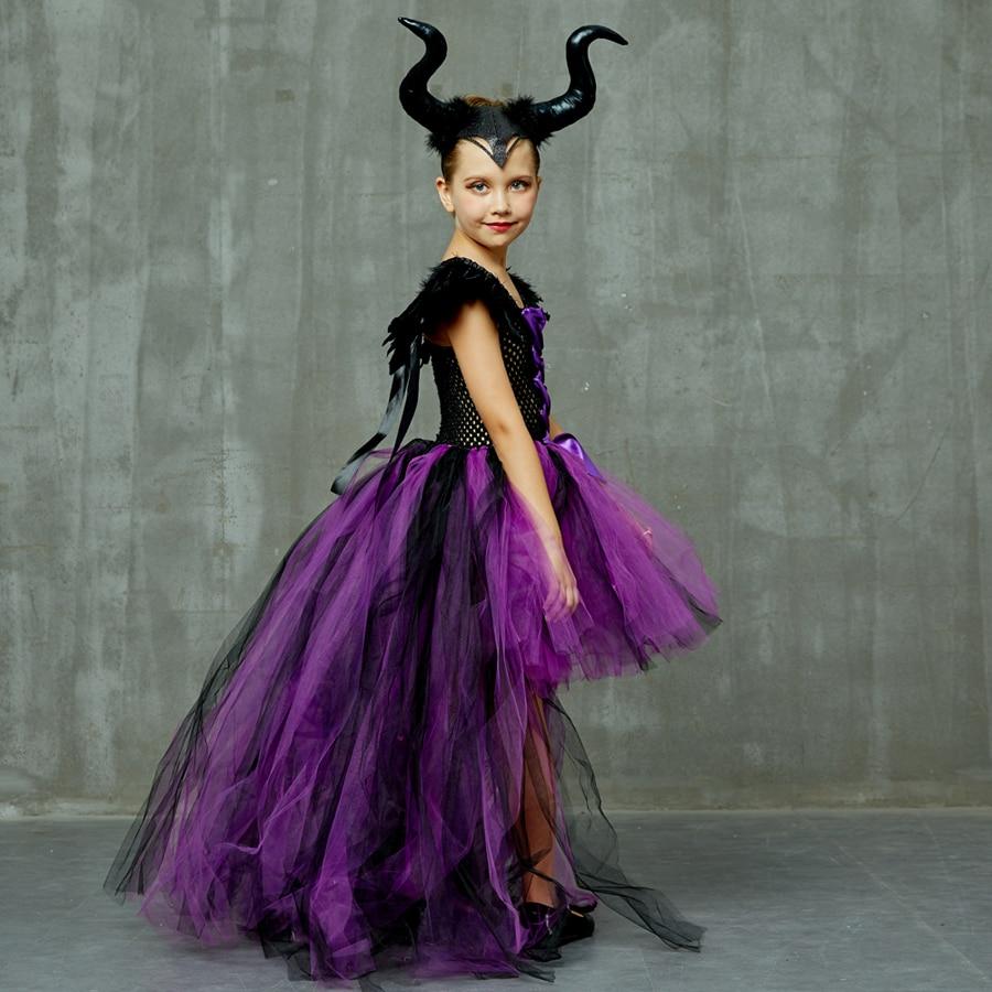 Purple Black Children Maleficent Costume Girls Dark Witch Villain Halloween Fancy Tutu Dress Evening Party Carnival Ball Gowns (15)
