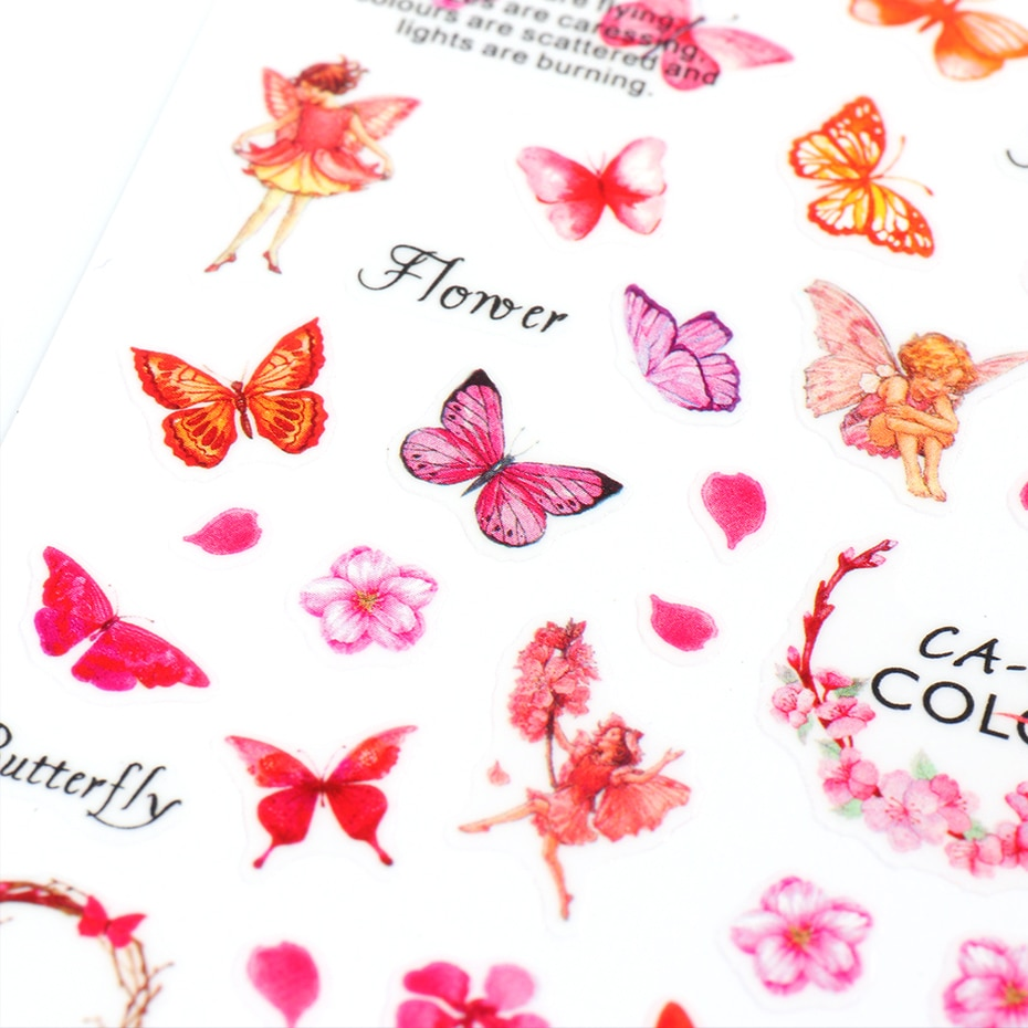 Butterfly Nail Stickers Flower Water Transfer Sliders Summer Colorful Nail Art Stickers DIY Manicure