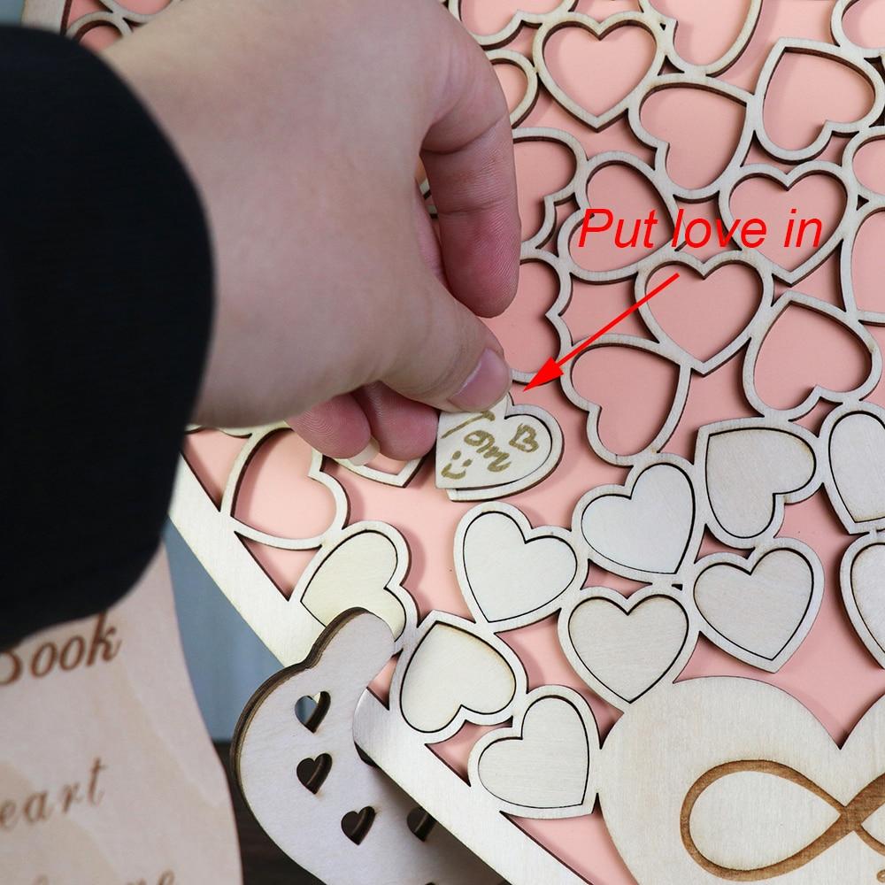 Heart shape Wedding Guest book Decoration Rustic Pink Sweet Heart Drop box Wedding drop box 3D Guestbook with wooden box (2)