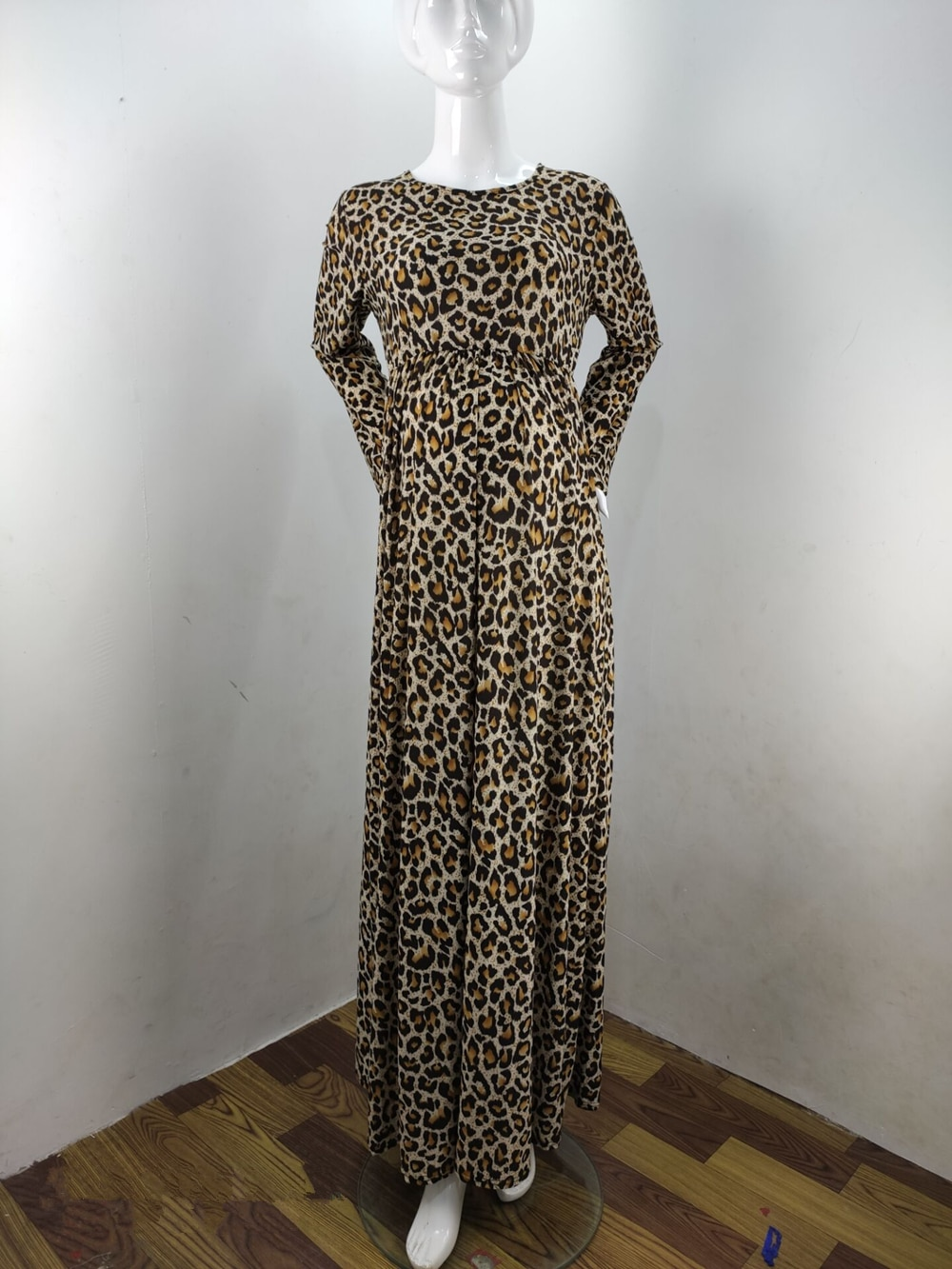 Fashion Maternity Dresses Photography Props Leopard Pregnancy Dress Long Sleeve Maternity Clothes For Pregnant Women Photo Shoot (5)