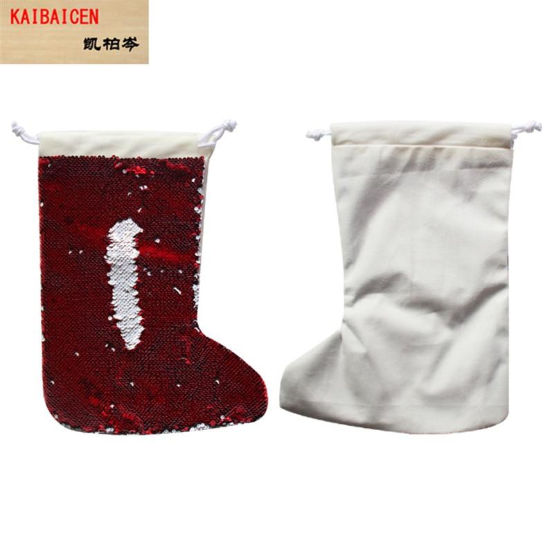 亮片圣诞袜-红色2