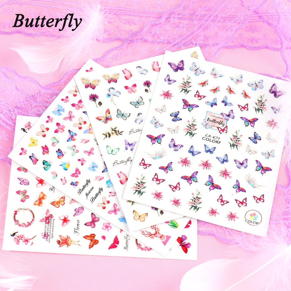 Butterfly Nail Stickers Flower Water Transfer Sliders Summer Colorful Nail Art Stickers DIY Manicure Tips (2)