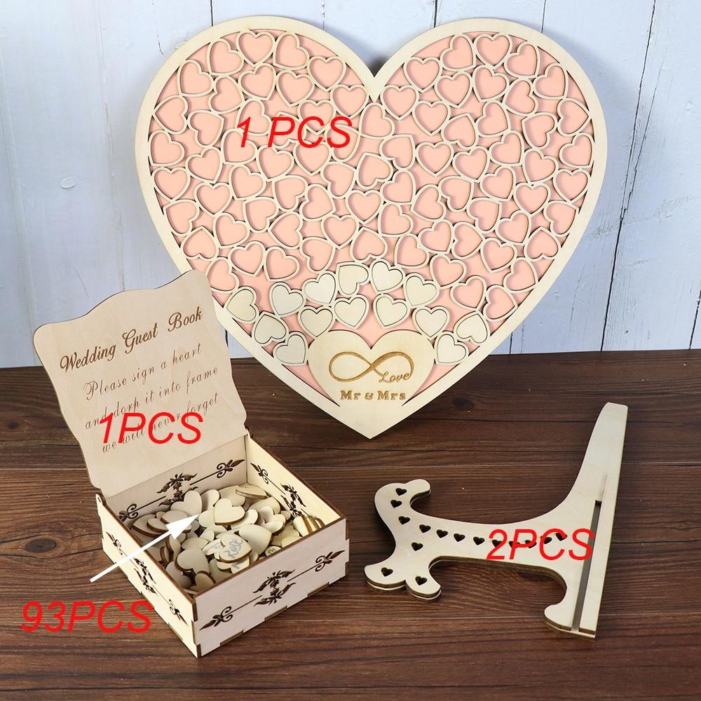 Heart shape Wedding Guest book Decoration Rustic Pink Sweet Heart Drop box Wedding drop box 3D Guestbook with wooden box (5)