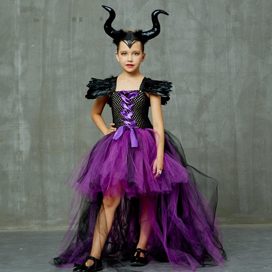 Purple Black Children Maleficent Costume Girls Dark Witch Villain Halloween Fancy Tutu Dress Evening Party Carnival Ball Gowns (16)
