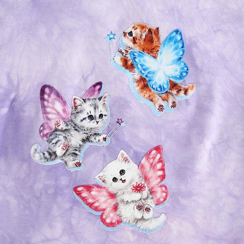 Rapcopter Butterfly Cat Print Women T Shirt Purple