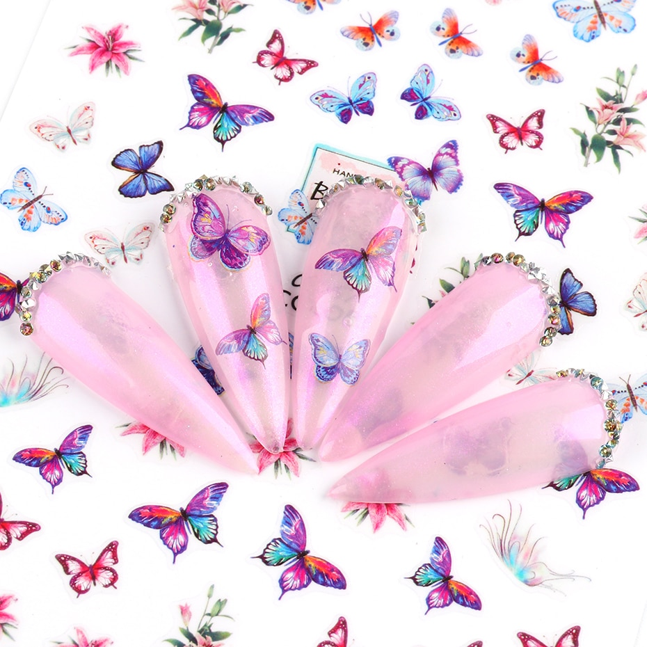 Butterfly Nail Stickers Flower Water Transfer Sliders Summer Colorful Nail Art Stickers DIY Manicure Tips (4)