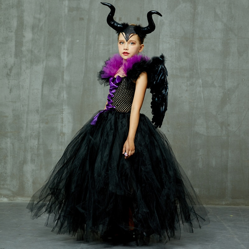 Maleficent Black Gown Tutu Dress with Deluxe Horns and Wings Girls Villain Fancy Dress Kids Halloween Cosplay Witch Costume (28)