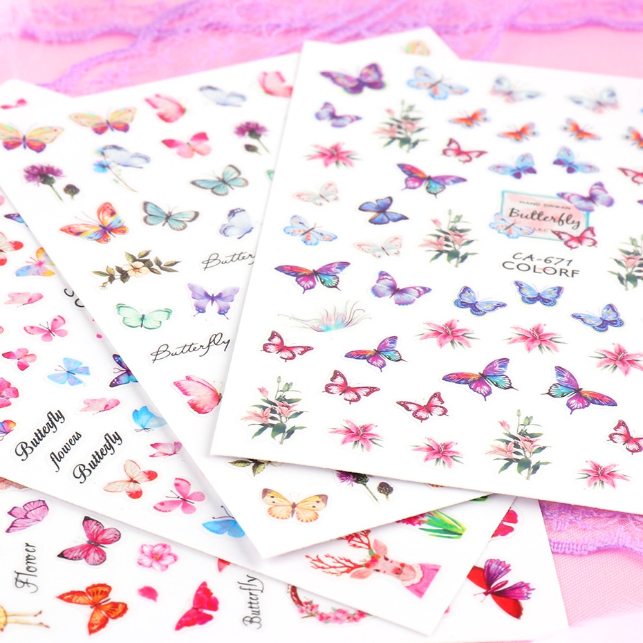 Butterfly Nail Stickers Flower Water Transfer Sliders Summer Colorful Nail Art Stickers DIY Manicure Tips (7)