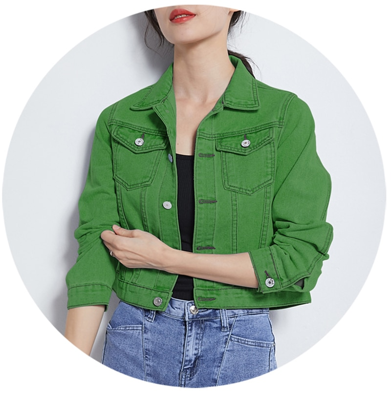 Jeans Jacket and Coats for Women 2019 Autumn Candy Color Casual Short Denim Jacket Chaqueta Mujer Casaco Jaqueta Feminina (6)