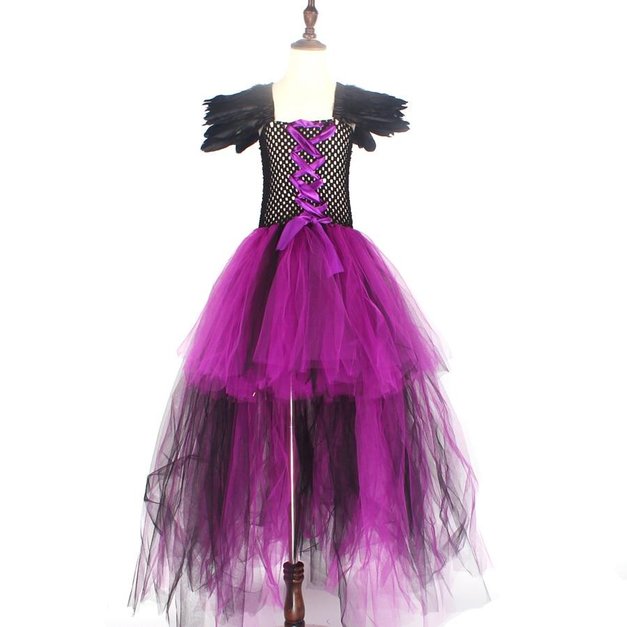 Purple Black Children Maleficent Costume Girls Dark Witch Villain Halloween Fancy Tutu Dress Evening Party Carnival Ball Gowns (7)