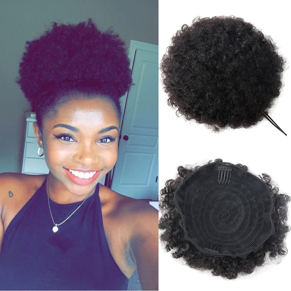 Remy Human Hair Ponytail Remy Clip In Extensions Natural Hair Bundles Black Hair Curly Chignon Hair Pieces for Women Ponytail Chignon Afro Chignon Hair Bun Extension (1)