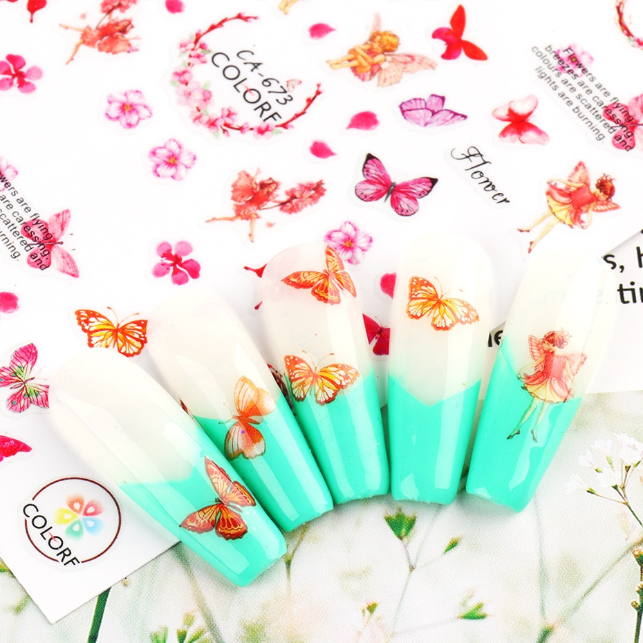 Butterfly Nail Stickers Flower Water Transfer Sliders Summer Colorful Nail Art Stickers DIY Manicure Tips (8)