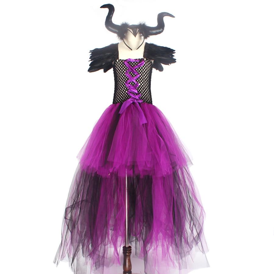 Purple Black Children Maleficent Costume Girls Dark Witch Villain Halloween Fancy Tutu Dress Evening Party Carnival Ball Gowns (3)