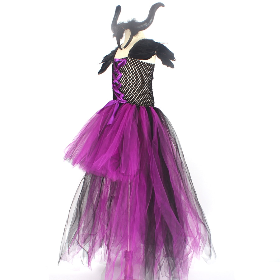 Purple Black Children Maleficent Costume Girls Dark Witch Villain Halloween Fancy Tutu Dress Evening Party Carnival Ball Gowns (5)