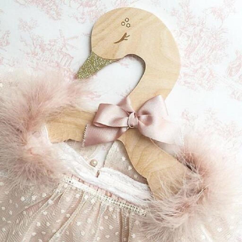 Kids Baby Animal Carton Swan Wooden Clothes Hanger Rack Home Room Nursery Decor