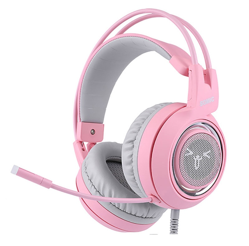 Pink Cat Ear Headphones Noise Cancelling Wired Gaming Headset