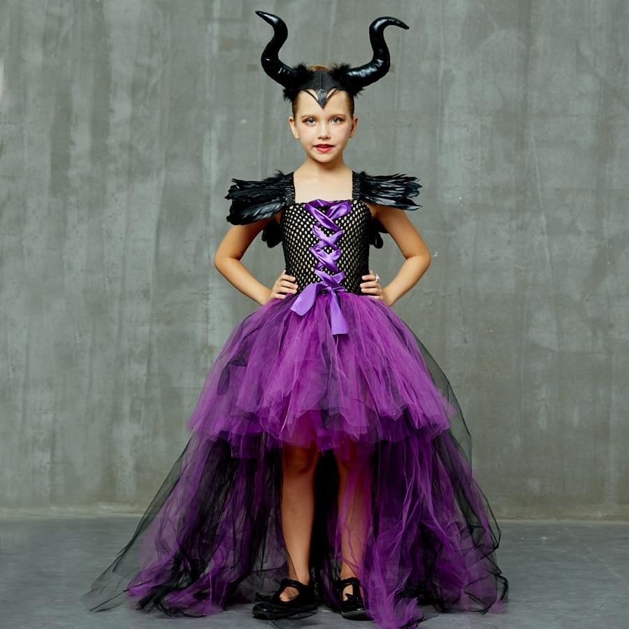 Purple Black Children Maleficent Costume Girls Dark Witch Villain Halloween Fancy Tutu Dress Evening Party Carnival Ball Gowns (10)