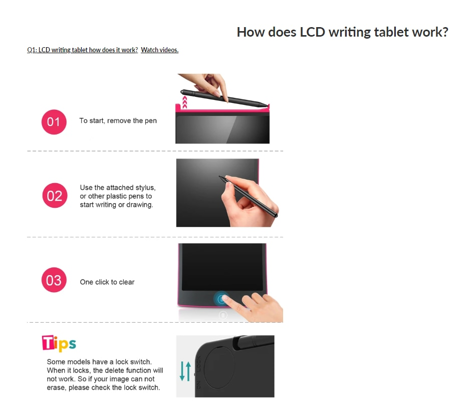 How does LCD writing tablet work