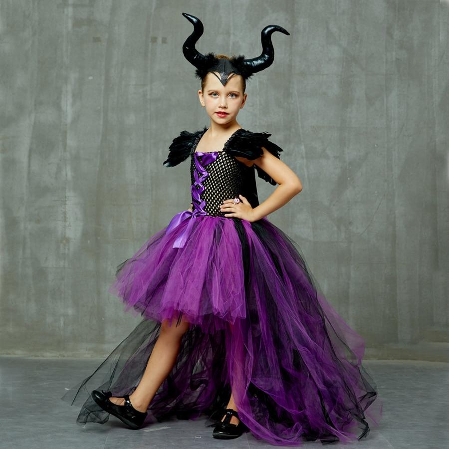 Purple Black Children Maleficent Costume Girls Dark Witch Villain Halloween Fancy Tutu Dress Evening Party Carnival Ball Gowns (9)